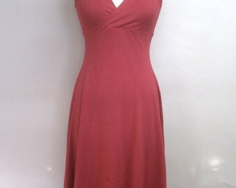 CLEARANCE Halter Dress Rose Cotton Lycra Flared High-Low Hem Size M - XL