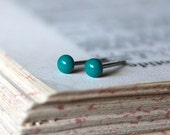 Dark Turquoise Tiny Studs, Several Sizes Between 1.5mm and 10mm Agar.io Inspired Earrings