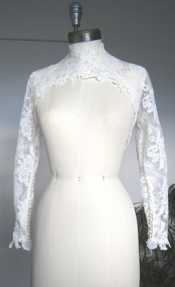 Lace bolero, Grace Kelly Sleeves with couture neck design, available in Ivory, White White or Black, handmade in Canada