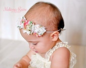 Precious Frayed Chiffon Vintage Pink Floral Flower Skinny Elastic Headband - Photo Prop - Newborn Infant Toddler