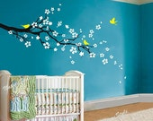 cherry blossom wall decal flower birds wall sticker nursery mural children wall art cherry wall sticker tree-plum blossom with Flying Birds