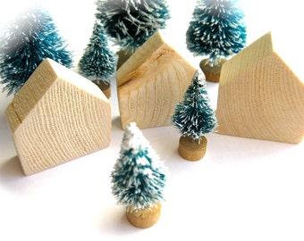 Geometric Wooden Village-Set of 3 Miniature Houses-Wooden Toy Blocks-Fairy Tale Cottage-Table Top Sculpture-Christmas Snow Village-Terrarium