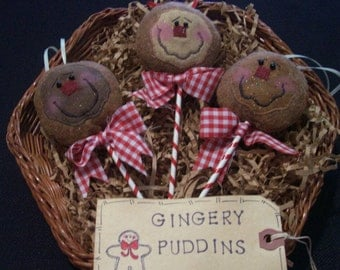 Primitive Whimsical Country Christmas GINGERBREAD LOLLIPOP Ornaments Ornies