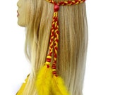 braided headband garnet and gold hippie hair accessories women hair piece The Sky is Burning