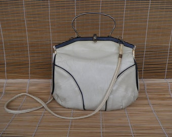 Vintage Lady's 1970's Retro White With Black Faux Leather Shoulder Strap Bag Evening Bag