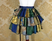 "Patchwork Ruffle Bustle Overskirt - 3 Layer, Sz. S - Blue, Green, & Gold - Fits up to 50"" Waist"