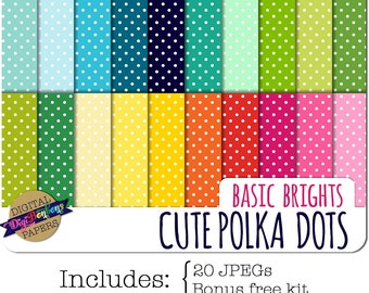 Polka Dot Digital Paper, INSTANT DOWNLOAD, Commercial use ok, bright colors, 12x12, digital scrapbooking papers