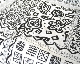"Vintage Fabric - Geometric Shapes - Mod - Black & White - By the Yard x 44""W - 1970's - Retro - Sewing Material - Craft Supply - Yardage"