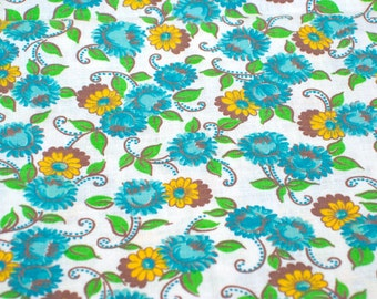 """Vintage Fabric - Flowers - Turquoise & Yellow - By the Yard x 36""""W - 1950's - Retro Sewing Material - Yardage"""