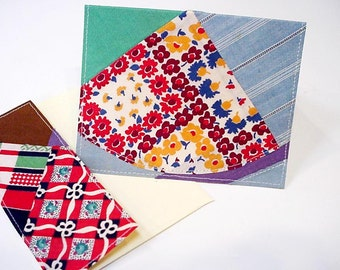 Patchwork Quilt Card Vintage Feedsack Greeting Card Original Quilt Top Fabric Blank Note Card itsyourcountry
