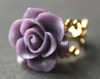 Dark Purple Rose Ring. Dark Purple Flower Ring. Gold Ring. Silver Ring. Bronze Ring. Copper Ring. Adjustable Ring. Handmade Jewelry.