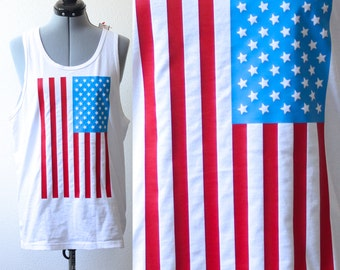 4th of July U.S.A Flag Tank Top