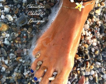 Leather Jewelry - Swarovski - Christine Chandler - Pearl and Leather Anklet with Swarovski Starfish Crystal by - Pearl and Leather Jewelry