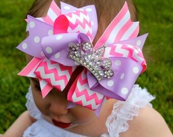 Birthday Bow - Princess Party - Princess Headband - Princess Hair Bow