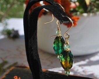 Czech glass earrings, green and gold earrings, green earrings, gold filled earrings, SRAJD