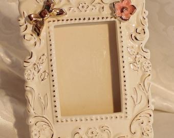 Vintage Porcelain Frame Pink Flower Gold Bow