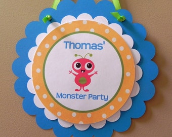Door Sign: Monster Bash - Boy Baby Shower or Kids Birthday Party Decorations Cute Monster Blue Green Yellow Red Primary Colors
