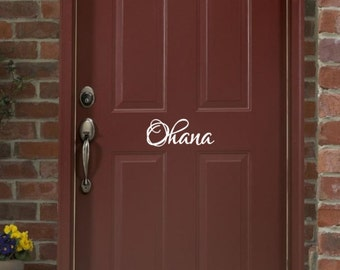 Ohana Door Decal, Vinyl Door Decal, Front Door Decor, Hawaiian Decals, Vinyl Wall Decal, Vinyl Lettering 22444