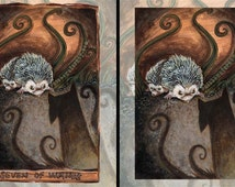 Cute Hedgehog Print, Animal Illustration, Seven of Wands Tarot Card, 8x10 Art Print, Badger Picture, Dark Shadow, Animism Tarot Deck