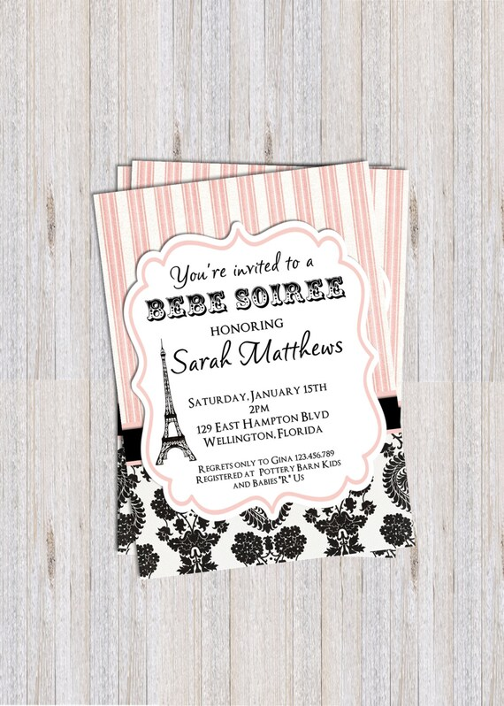 Paris Baby or Bridal Shower Invitation Damask Pink Bebe Soiree Printable Invite