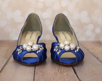 Blue Wedding Shoes, Something Blue, Something Blue Shoes, Kitten Heels, Wedding Shoes Low Heels, Simple Wedding Shoes, Custom Wedding, Blue