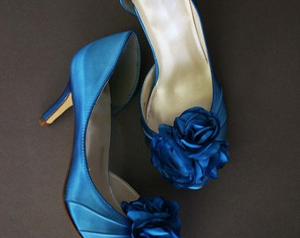 Wedding Shoes -- Turquoise Peeptoes with Matching Trio of Flowers Adornment