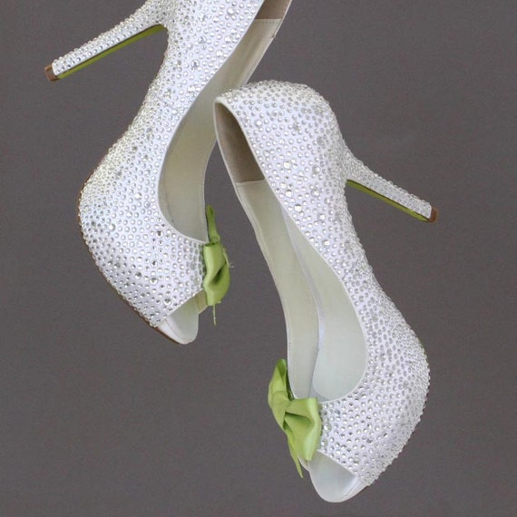 Wedding Shoes -- Silver Rhinestone Covered Platform Peep Toe Wedding Shoes with Lime Green Bow and Painted Sole