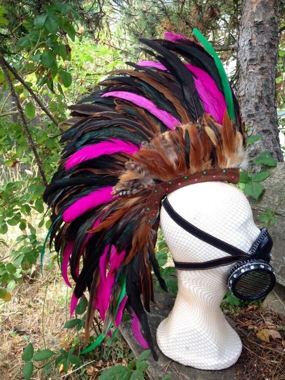 "Customizable Feather Mohawk / Headdress - ""Strawberry Shortcake"""