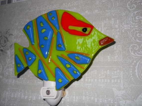 Fused Glass Angel Fish Night Light, Green Fish Night Light, Mosaic Fish Nightlight