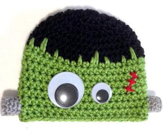 Frankenstein Hat, Halloween Baby Beanie, Crochet Baby Beanie, Frankenstein Costume Hat, Crochet Baby Hat, Baby Halloween Costume