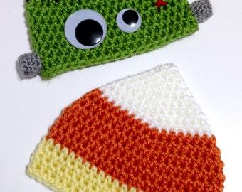 Candy Corn Baby Hat, Newborn Halloween Baby Hat, Candy Corn Beanie, Halloween Beanie, Halloween Costume, Autumn Baby Hat, Fall Hat, Crochet