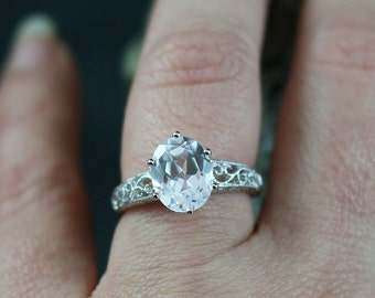 White Sapphire Engagement Ring Polymnia Antique Style Prong Set Filigree 3.5ct 10x8mm Custom Siz White-Yellow-Rose Gold-10k-14k-18k-Platinum