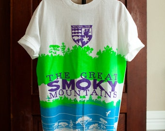 Bright Tshirt - The Great Smoky Mountains National Park - Large - neon green