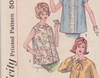 1960s Mad Men Maternity Top, Simplicity 3925, Tailored , Casual or Dressy, Hip Length, Pockets, Bow, Sleeves or Sleeveless, Lace, Buttons