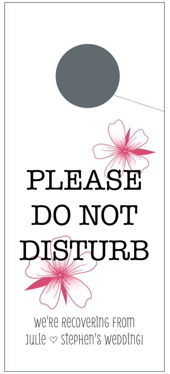 Do Not Disturb Door Hangers with Tropical Flowers for Wedding Welcome Bags