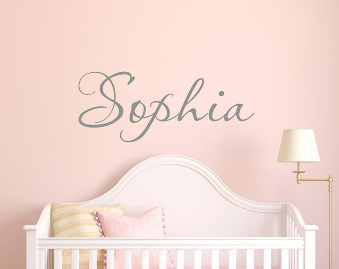 Girls Name Decal // Monogram Wall Decal // Personalized Name Sticker // Nursery Stickers  by Lucylews
