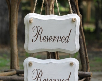 Reserved Chair Signs Wedding Photo Props, Jute Twine or Satin Ribbon, Personalization, Rustic Shabby Chic Weddings