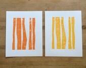 Set of Block Prints - Orange and Yellow Stripe 8 x 10