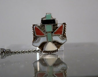 Vintage Zuni Tribe Thunderbird Design MOP Turquoise Onyx and Spiny Oyster Silver Tie Tac Southwestern Jewelry Collectible DanPickedMinerals