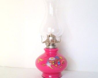 Vintage Pink Oil Lamp Hot Pink Flowers Kerosene Oil Lamp  Kaadan Ltd