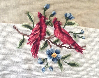 Vintage Red Cardinal Needlepoint Preworked Embroidery Canvas French Luxury Canvas Birds