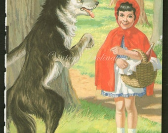 Antique print RED RIDING HOOD 1 rhyme 1950s illustration nursery decor baby shower gift baby red