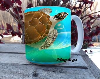 Large Coffee Mug | Sea Turtle Coffee Mug | 20 oz Mug | Sea Turtle Gift | Big Mugs | Beach Gift | Guy Mug Gift , oversized coffee mug
