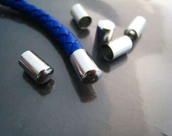 End Caps without Loop and Hole 5mm - 10pcs Finding Silver Round Head Tone Cord End Cap Edge 10mm x 6mm ( inside 5mm Diameter )