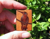 Hummingbird on Mini Cherry Wood Tile Pyrography Woodburning