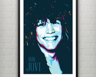 Jon Bon Jovi Poster art print - Home decor wall art.