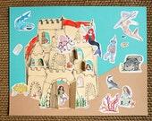 Seacastle Mermaid Sealife Craft Kit for Kids ages 5 and up, Peekaboo Seacastle DIY Paper Craft Kit