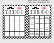 Printable baby shower game bingo gender reveal party mustache