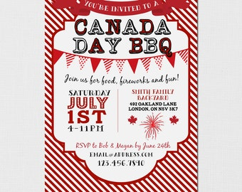 Canada Day Invitation - Canada Day BBQ - Canadian Invitation - Canada Day Barbeque - July 1st Invitation - DIY Printable Invitation