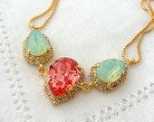 Peach coral and  mint opal Swarovski crystal necklace,  Statement necklace, Bridal necklace, Bridesmaid gift, Wedding estate style jewelry